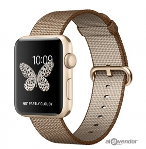 Apple Watch Series 2 Gold Aluminum Case with Toasted Coffee/Caramel Woven Nylon 42mm