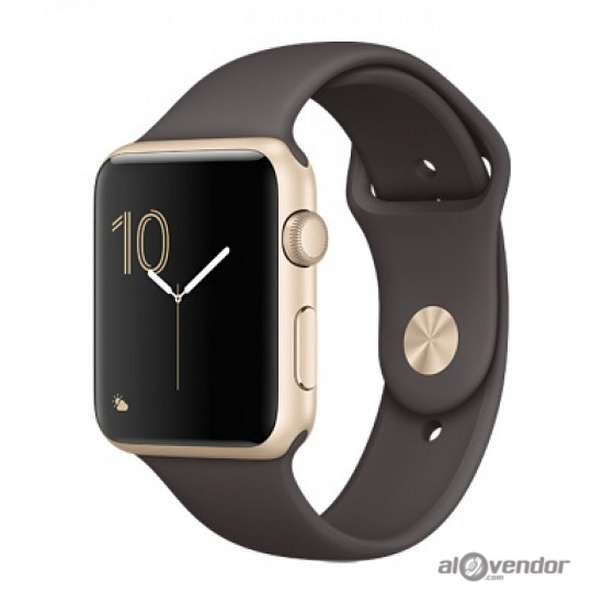 Apple Watch Series 2 Gold Aluminum Case with Cocoa Sport Band 42mm