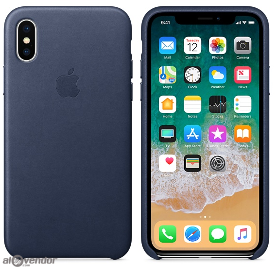 Ốp Apple iPhone X da xanh midnight