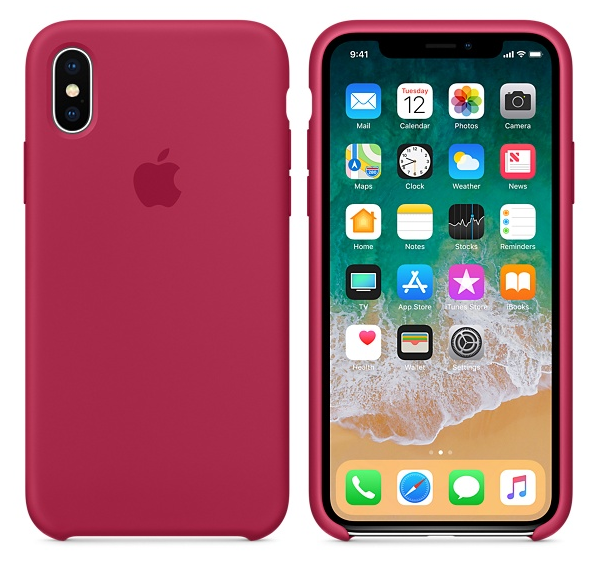 iPhone X Silicone Case Rose Red