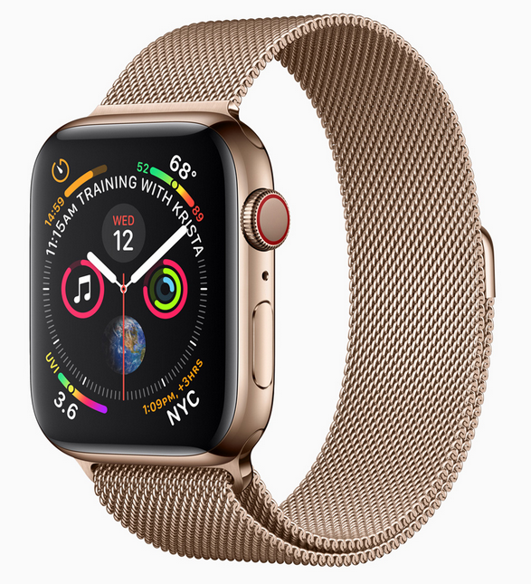 Apple Watch Series 4 Gold Stainless Steel Case with Gold Milanese Loop 40mm