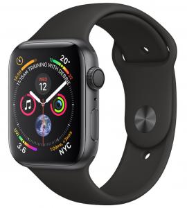 Apple Watch S4 GPS 44MM viền nhôm xám dây cao su đen MU6D2
