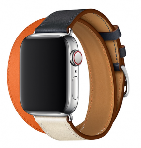 Dây Apple Watch Hermès Indigo/Craie/Orange Swift Leather Double Tour
