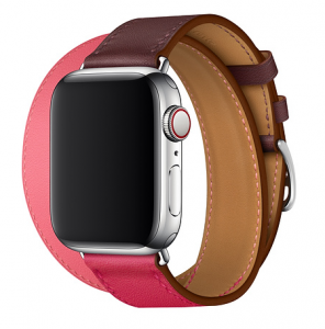 Dây Apple Watch Hermès Bordeaux/Rose Extrême/Rose Azalée Swift Leather Double Tour