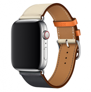 Dây Apple Watch Hermès Indigo/Craie/Orange Swift Leather Single Tour