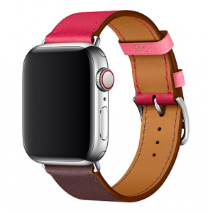 Dây Apple Watch Hermès Bordeaux/Rose Extrême/Rose Azalée Swift Leather Single Tour