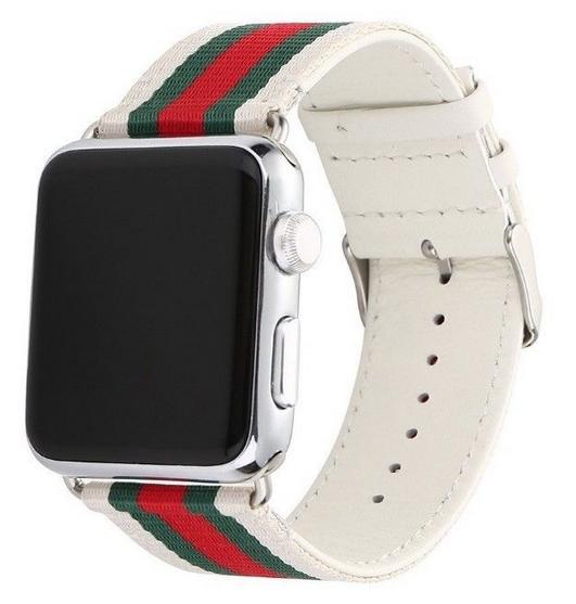 Dây Apple Wacth Stripe GUCCI Pattern Sport Trắng