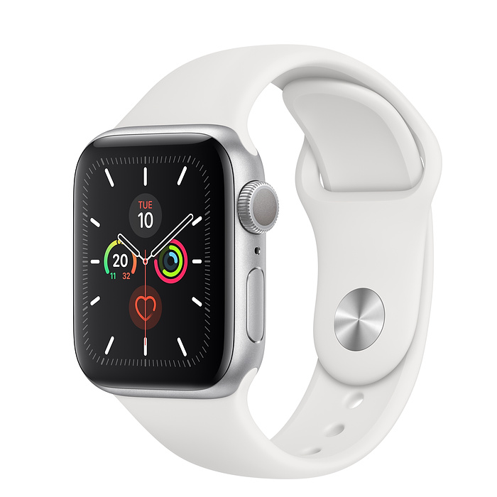 Apple Watch Series 5 Silver Aluminium Case with Sport Band 40MM