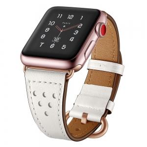 Dây Apple Watch da Classic 6 lỗ trắng