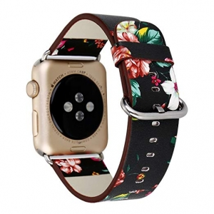 Dây Apple Watch da hoa văn đen
