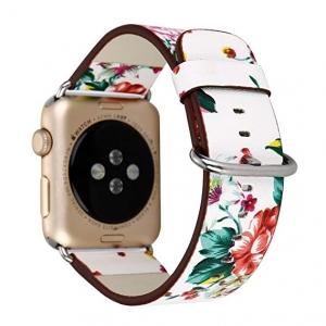 Dây Apple Watch da hoa văn trắng