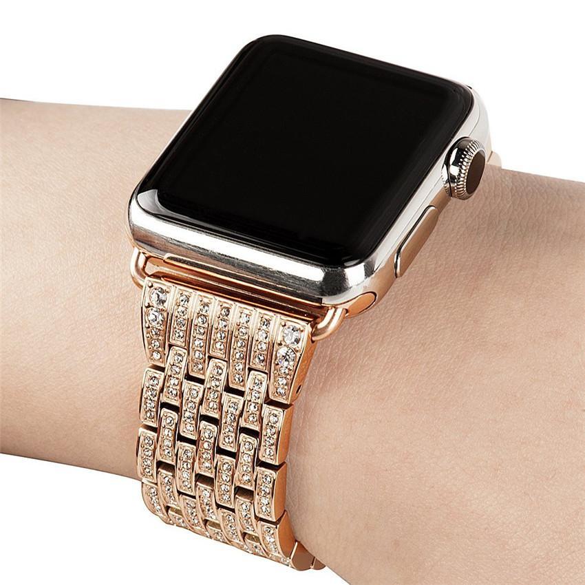 Dây Apple Watch đính đá vàng hồng