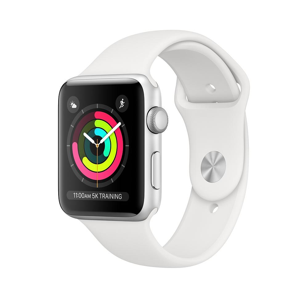 Apple Watch S3 GPS 42MM viền nhôm bạc dây cao su trắng