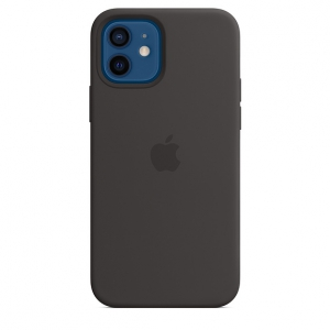 iPhone 12   12 Pro Silicone Case Black Replica (Without MagSafe)