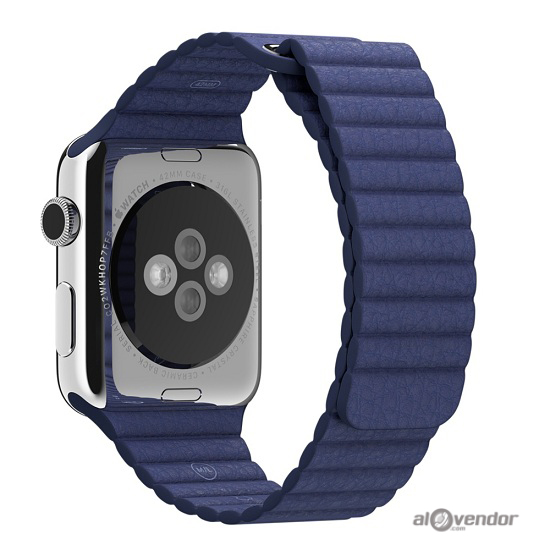 Apple Watch Series 2 Stainless Steel Case with Midnight Blue Leather Loop 42mm