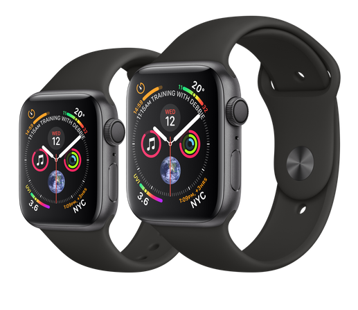 Apple Watch Space Grey Aluminium Case with Black Sport Band 44mm