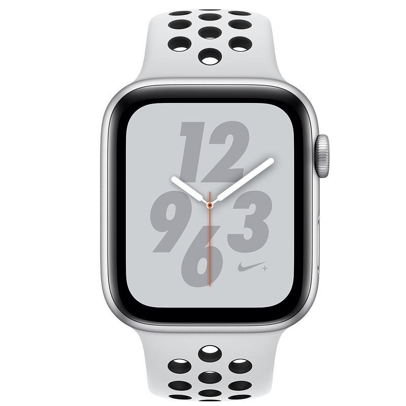 Apple Watch S4 NIKE GPS 44MM viền nhôm bạc dây cao su Pure Platinum MU6K2